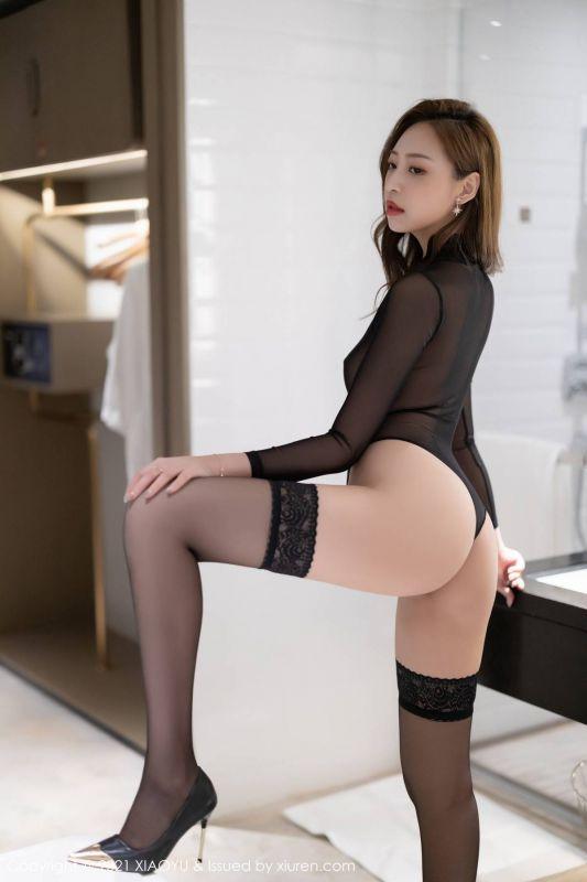 嫩模郑颖姗Bev湿身诱惑写真私房浴室蕾丝袜轻薄连体衣黑色