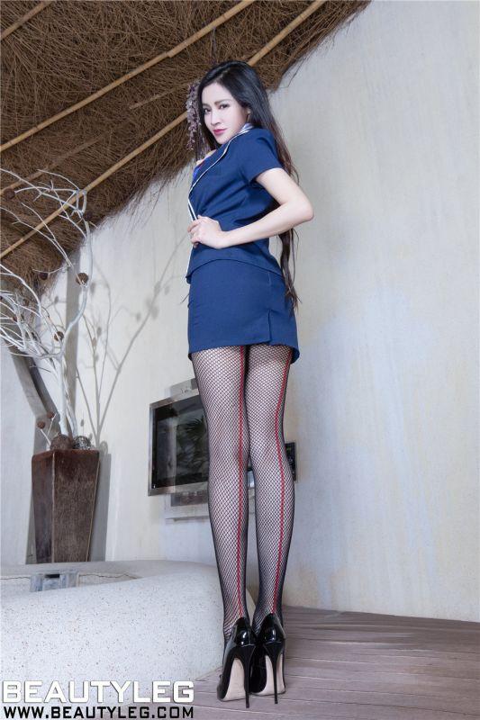 空姐Avril黑丝网袜室内写真高清图片
